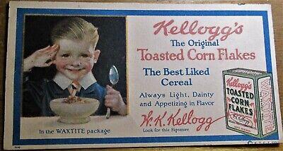 Vintage Antique Kellogg's Corn Flakes CerealAdvertising Blotter Battle Creek MI