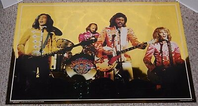 SGT. PEPPER'S Movie BEE GEES + FRAMPTON Yellow Foil Mylar Poster 1978 Stigwood