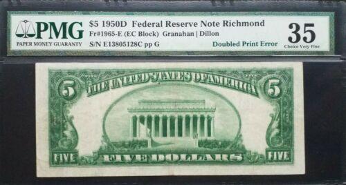 FR 1965-E  1950D $5 FRN Richmond 《Scarce Quadrupled Back Printing》PMG VF35
