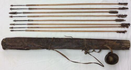 Antique Archery Arrows & Leather Quiver with 8 high quality arrows