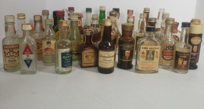 Vintage Lot of 34 vodka, gin, whiskey 1/10 pint mini empty bottles 1960s era
