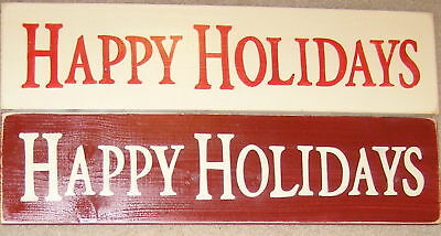 HAPPY HOLIDAYS Primitive MERRY CHRISTMAS Decor Wall Sign Plaque HP U Pick Color ()