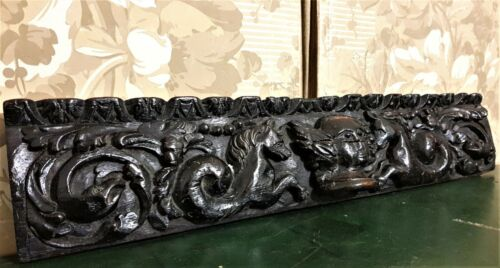 17 th Century sea horses carving pediment Antique french architectural salvage