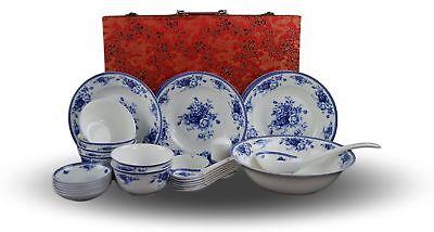 28-piece Bone China Blue and White Dinnerware Set, Service for 6, Rice Bowl S... Bone China Rice Bowl