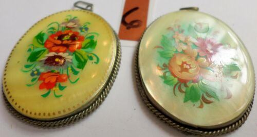 2 Vintage Russian Hand Painted Mother Of Pearl Floral Pendants 45x36mm Signed 6