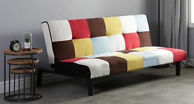 Birlea Rainbow Sofa Bed 3 Seater Settee Multi Coloured Fabric Scandinavian Retro