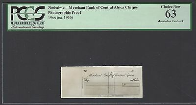 Zimbabwe   Merchant Bank Of Central Africa Cheque 19   Ca 1956  Photograph Proof