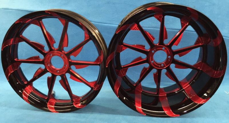 Black And Translucent Red 240 Tornado Wheels For 2004-2012 Yamaha R1