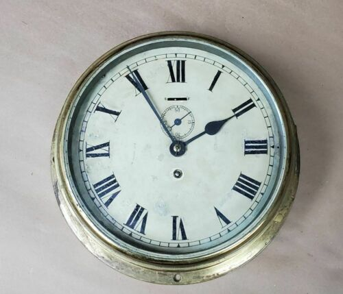 Antique 8 Day English Maritime Nautical Ship Clock 2 Jewel Brass Working Empire