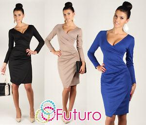 Very-Elegant-Wiggle-Dress-V-Neck-Pencil-Party-Formal-Sizes-8-18-FA222