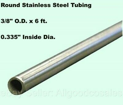 Round Tubing 304 Stainless Steel 38 Od X 6 Ft. Welded 0.335 Inside Dia.
