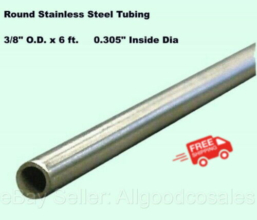 """Round Tubing 304 Stainless Steel 3/8"""" OD x 6 ft. Welded 0.305"""" Inside Dia."""