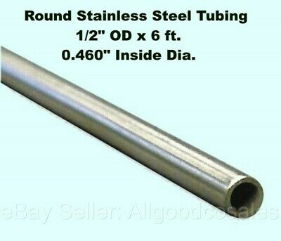 Round Tubing 304 Stainless Steel 12 Od X 6 Ft. Welded 0.460 Inside Dia.