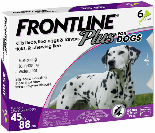 Frontline Plus 45-88 lbs 6 Doses For Large Dogs treatment Flea and Tick