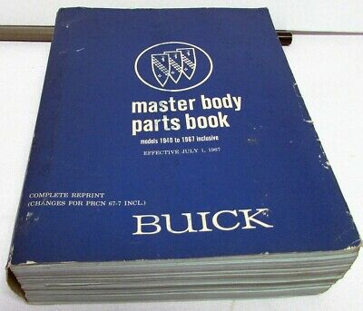 1940-1966 Buick Dealer Master Body Parts Book Catalog Illustrations & Text Orig