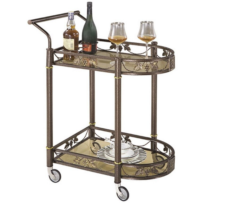 Tea Serving Bar Cart On Wheels Glass Shelves Antique Style Metal Kitchen Car