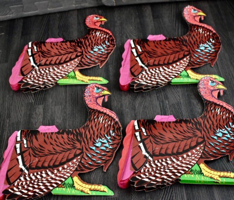 4 Vtg Beistle Honeycomb Thanksgiving Turkey Tissue Paper Accordion Centerpieces