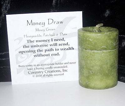 MONEY DRAW Candle Wiccan Pagan Coventry Creations MONEY Blessed Herbal votive