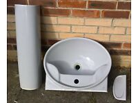 Bathroom sink, pedestal and soap dish (Grey colour)