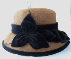 Marks & Spencer Gold & Black Trim Formal Straw Hat One Size