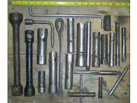 Set 6 Selection of Vintage Deep Sockets and assorted tools various sizes. See pictures for details.