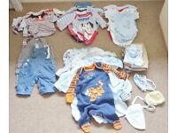 Huge Baby boy bundle newborn 0 -3 month. vests sleepsuits trousers hats 40 items