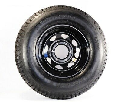 Two Trailer Tires On Rims ST225/75D15 H78-15 225/75-15 D 6 Lug Black Spoke Wheel