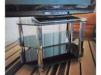 As new modern black glass/chrome TV stand