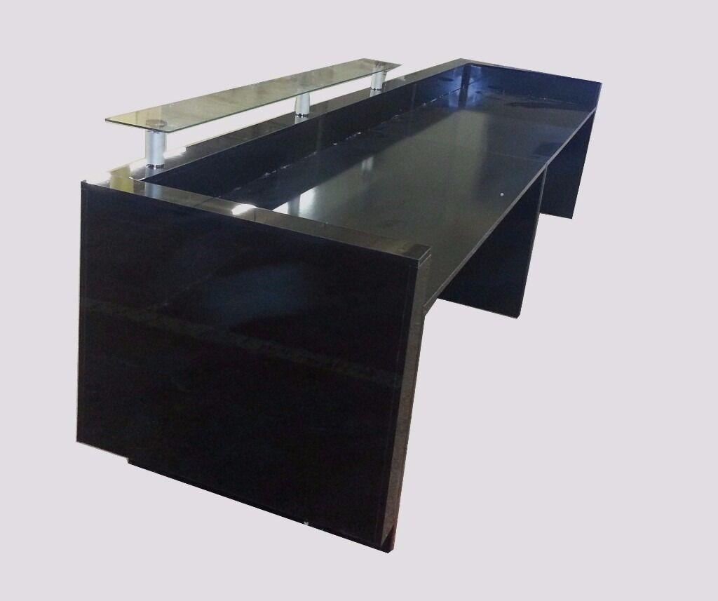 Reception Desk Black High Gloss 3600mm Ref 0501