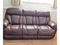 TWO GOOD QUALITY BROWN LEATHER 3 SEATER SOFAS (1 FIXED + 1 ELECTRIC)