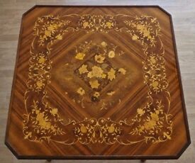 ITALIAN MARQUETRY GAMES TABLE. Lacquered inlaid wood. (Make an offer).