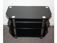 Black Glass TV Stand 3-Tier W80xH50