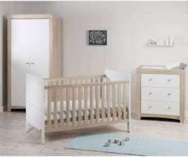Nursery Wardrobe ice white with wood vaneer