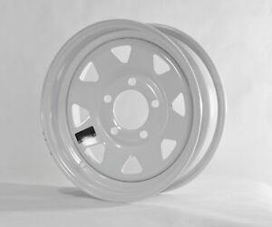 Trailer Wheel White Rim 15 x 5 Spoke Style (5 Lug On 4.5