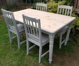 Refurbished solid pine dinning table and chairs