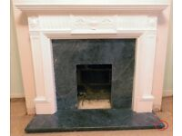 Adams Style Fire Surround (White Plaster) With Black Marble Infill Plate & Hearth