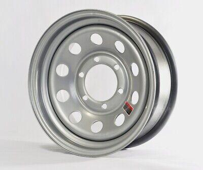 2-Pk Trailer Rims Wheels 15 x 6 in. Modular Design 6 Bolt Hole 5.5 in. OC Silver