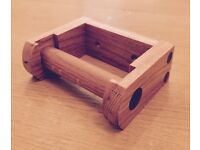 Handmade Solid Oak Toilet Role Holder (New)