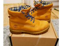 GENUINE Timberland Roll Top Woolrich Mens Brown Blue Plaid Leather Ankle Boots - 9.5UK