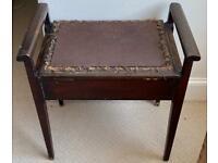 Vintage solid wood piano stool