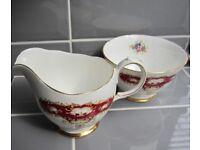 Queen Anne Fine Bone China England Ridgway Potteries Jug and Sugar Bowl.