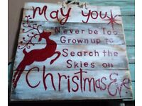 christmas yard art wood sign. to hand or display .