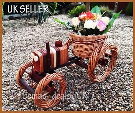 HANDMADE WICKER TRACTOR GARDEN FLOWER POT BASKET ORNAMENT DECORATION