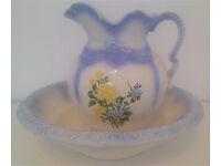 Beautiful china wash jug and basin – beautifully handpainted. Reproduction of an antique.