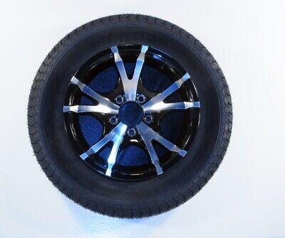 Trailer Tire On Rim 60213 ST185/80R13 LRC 5-4.5 Aluminum Black V-Spoke covid 19 (Spoke Aluminum Trailer Tire coronavirus)