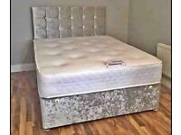 💛💛Best Price Offered💛💛 DOUBLE CRUSHED VELVET DIVAN BED BASE WITH DEEP QUILTED MATTRESS