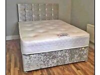 Brand New FAST DELIVERY=DOUBLE CRUSHED VELVET DIVAN BED BASE WITH DEEP QUILTED MATTRESS