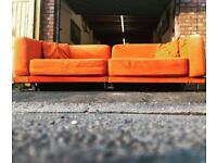 Vintage retro style orange pullout sofabed chrome stainless steel frame