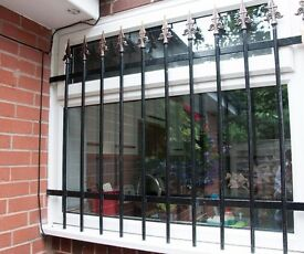 Steel window security grille to fit a 1200mm wide window x 1000mm high.