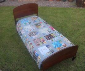 Vintage VONO Hardwood Bed with rails, spanner, replacement base, mattress, Standard Single